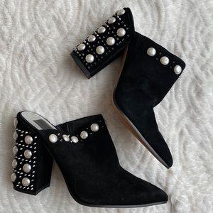 Dolce vita black suede chunky heel booties 6.5